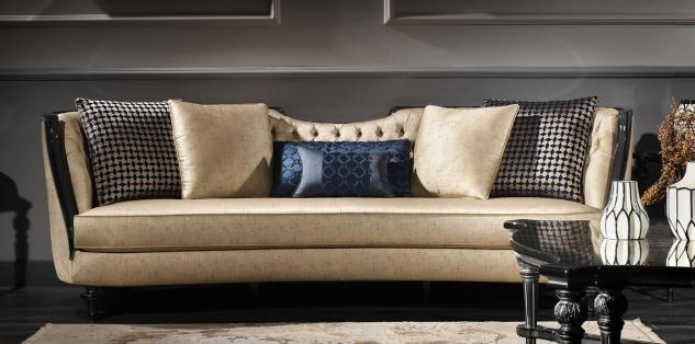 Casa Padrino Luxus Barock Sofa Gold / Schwarz 257 x 100 x H. 86 cm - Prunkvolles Wohnzimmer Sofa - Barockmöbel