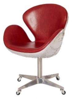 Casa Padrino Luxus Echtleder Bürostuhl Rot / Silber 72 x 63 x H. 91 cm - Designer Büromöbel