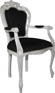 Casa Padrino Barock Luxus Esszimmer Stuhl mit Armlehnen Schwarz / Antik Weiss - Designer Stuhl - Luxus Qualität - Vorschau 2