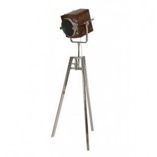 Casa Padrino Vintage Studioleuchte Holz / Edelstahl vernickelt 183 - 200 cm - Stehleuchte Lampe