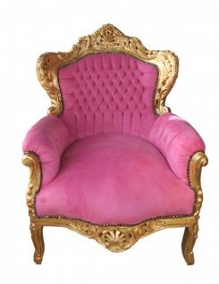 """Casa Padrino Barock Sessel """" King"""" Pink /Gold- Antik Stil"""