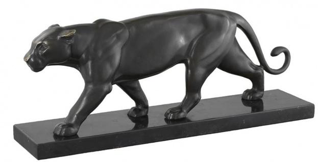 Casa Padrino Bronzefigur Panther auf Marmorsockel 42 x 9 x H. 16, 5 cm - Luxus Wohnzimmer Dekoration