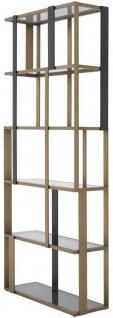 Casa Padrino Luxus Regalschrank Messing / Mattschwarz / Grau 100 x 37 x H. 240, 5 cm - Edelstahl Schrank mit 5 Glasregalen - Wohnzimmerschrank - Büroschrank - Luxus Möbel - Vorschau 2