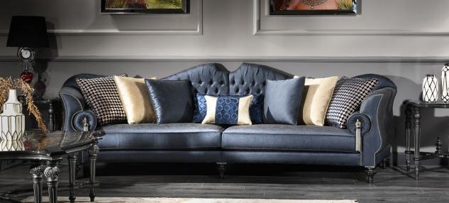Casa Padrino Luxus Barock Wohnzimmer Sofa Blau / Silber / Schwarz 300 x 94 x H. 88 cm - Edel & Prunkvoll