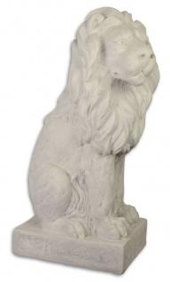 Casa Padrino Garten Terrassen Deko Skulptur Sitzender Löwe Weißgrau 28, 7 x 43 x H. 74, 6 cm - Deko Figur