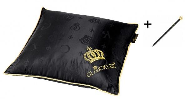 Harald Glööckler Designer Seiden Luxus Kleinkissen Schwarz / Gold 40 x 40 cm + Casa Padrino Luxus Barock Bleistift mit Kronendesign