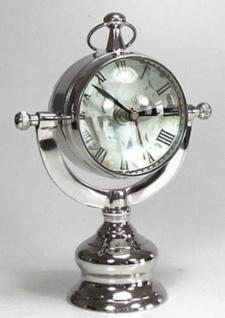 Casa Padrino Luxus Messing Tischuhr Silber 32 x 17 x H. 50 cm - Luxus Deko Uhr - Vorschau