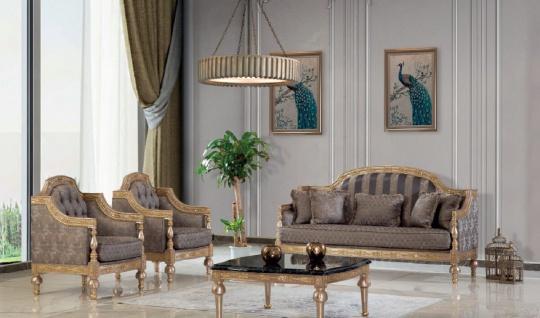 Casa Padrino Luxus Barock Wohnzimmer Set Grau / Silber / Gold - 2 Sofas & 2 Sessel & 1 Couchtisch - Handgefertigte Wohnzimmer Möbel im Barockstil - Edel & Prunkvoll