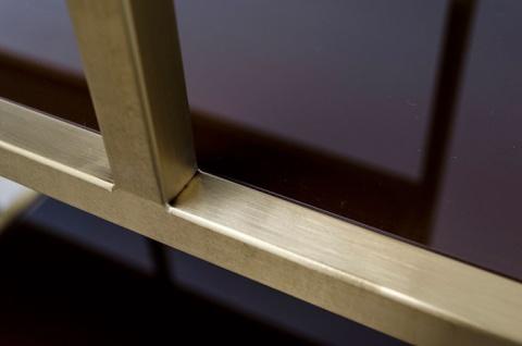 Casa Padrino Art Deco Luxus Regal Schrank Edelstahl Gold mit getönten Glasböden H210 x 98 x 35 cm - Bücherregal Regal Schrank - Jugendstil Möbel - Vorschau 3