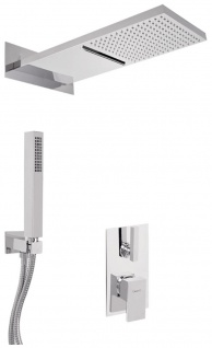 Luxus Duschgarnitur UP-Einhebel-Brausemischer Unterputz-Brauseset Kopfbrause mit Wasserfallstrahl / Regenstrahl Silber - Luxus Badezimmer Duschset