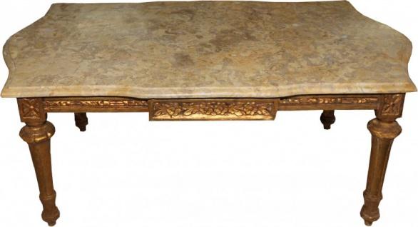 Casa Padrino Barock Couchtisch Gold mit cremefarbener Marmorplatte 109 x 60 cm - Limited Edition