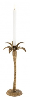 Casa Padrino Luxus Kerzenhalter Vintage Messingfarben Ø 20 x H. 42 cm - Messing Kerzenständer im Palmen Design