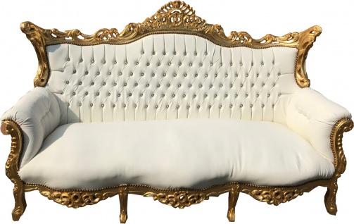 Casa Padrino Barock 3-er Sofa Master Weiss / Gold mit Bling Bling Glitzersteinen - Antik Möbel
