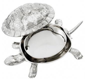 Casa Padrino Luxus Schatulle mit Deckel Schildkröte Messing vernickelt 26, 5 x 15 x H. 8 cm - Luxus Dekoration - Vorschau 3