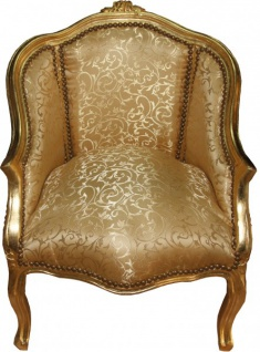 Casa Padrino Barock Damen Salon Sessel Gold Muster / Gold Mod2 - Luxus Antik Stil Wohnzimmer Möbel
