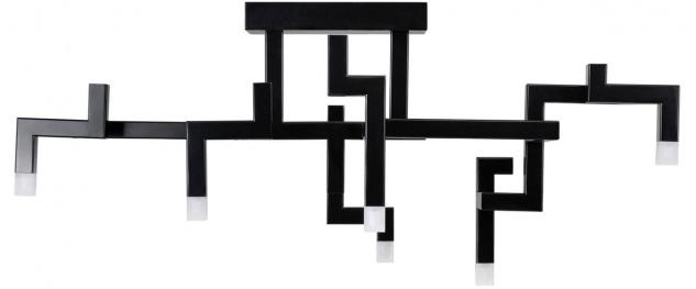 Casa Padrino Luxus Wohnzimmer Edelstahl LED Deckenleuchte Schwarz 73, 5 x 30, 5 x H. 31, 5 cm - Pulverbeschichtete Designer Deckenlampe