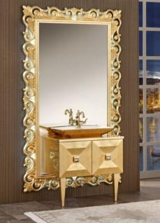 Casa Padrino Luxus Barock Badezimmer Set Gold - Waschtisch mit Waschbecken und Wandspiegel - Prunkvolle Badezimmermöbel im Barockstil
