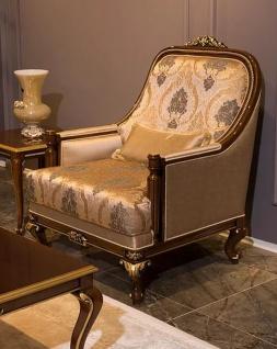 Casa Padrino Luxus Barock Sessel Grau / Braun / Gold 83 x 80 x H. 110 cm - Wohnzimmer Sessel mit elegantem Muster und dekorativem Kissen - Edle Wohnzimmer Möbel im Barockstil