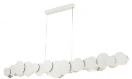 Casa Padrino Designer LED Hängeleuchte Weiß / Silber 150 x 8 x H. 38 cm - Luxus Kollektion