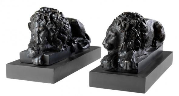 Casa Padrino Luxus Löwen Bronzefiguren 2er Set - Edel & Prunkvoll - Vorschau 2