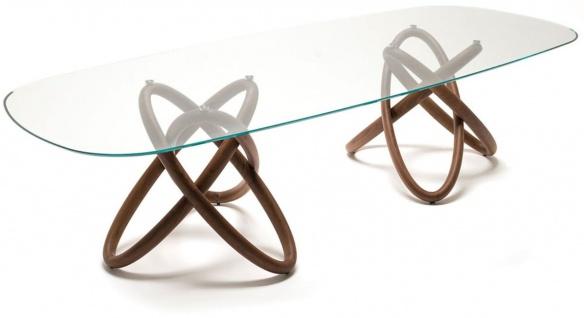 Casa Padrino Designer Esstisch Braun 300 x 120 x H. 75 cm - Moderner ovaler Esszimmertisch mit Glasplatte - Esszimmer Möbel - Luxus Qualität - Made in Italy