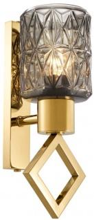 Casa Padrino Wandleuchte Gold 14 x 16 x H. 33, 5 cm - Luxus Wandlampe mit Glas Lampenschirm
