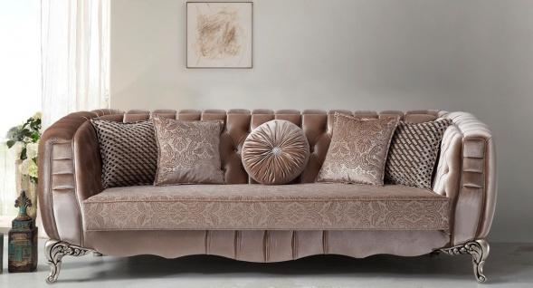 Casa Padrino Luxus Barock Sofa Rosa / Silber 235 x 103 x H. 82 cm - Barockstil Wohnzimmer Sofa mit dekorativen Kissen - Barock Wohnzimmer Möbel