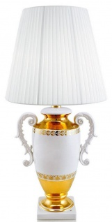 Casa Padrino Barock Tischleuchte mit 2 Tragegriffen Weiß / Gold Ø 40 x H. 78 cm - Keramik Lampe im Barockstil - Luxus Qualität