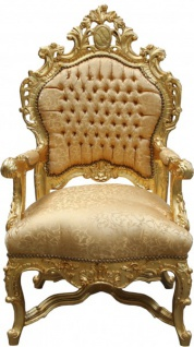 Casa Padrino Barock Luxus Thron Sessel Gold Muster/Gold - Barock Möbel Thron Königssessel - Limited Edition