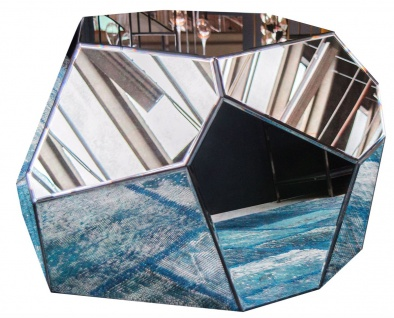 Casa Padrino Designer Wohnzimmertisch / Beistelltisch mit antikem Spiegelglas 89 x 90 x H. 45 cm - Designer Kollektion