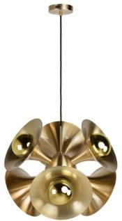 Casa Padrino Luxus Hängeleuchte Messingfarben 55 x 55 x H. 53 cm - Messing Pendelleuchte - Wohnzimmer Lampe - Luxus Kollektion