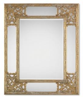 Casa Padrino Barock Spiegel in gold mit weißer Patina 83 x H. 102 cm - Barockstil Möbel