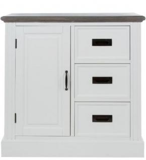 Casa Padrino Landhausstil Kommode mit Tür und 3 Schubladen Weiß / Grau 80 x 40 x H. 85 cm - Landhausstil Möbel