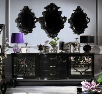 Casa Padrino Luxus Barock Wohnzimmer Set Schwarz / Gold - Prunkvolle Kommode und 3 Wandspiegel - Barock Möbel - Luxus Qualität