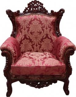 "Casa Padrino Barock Sessel "" Al Capone"" Mod2 Bordeaux Muster / Braun Rot Möbel Antik Stil - Limited Edition"