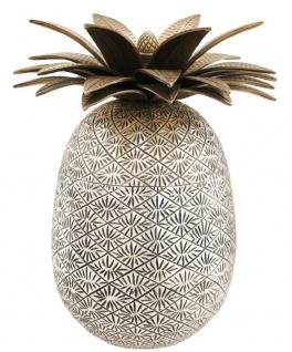 Casa Padrino Luxus Ananas Dose mit Deckel Antik Silber / Antik Messing Ø 16 x H. 28 cm - Designer Deko Accessoires