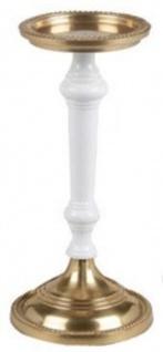 Casa Padrino Jugendstil Kerzenständer Antik Messingfarben / Weiß H. 30 cm - Runder Aluminium Kerzenhalter - Barock & Jugendstil Deko Accessoires