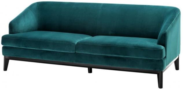 Casa Padrino Luxus Wohnzimmer Sofa Meergrün / Schwarz 195 x 90 x H. 75 cm - Luxus Möbel