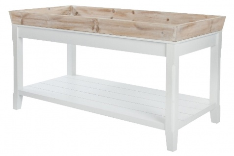 Casa Padrino Landhausstil Beistelltisch mit abnehmbarem Tablett Naturfarben / Weiß 100 x 50 x H. 55 cm - Landhausstil Möbel
