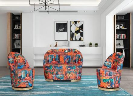 Casa Padrino Designer Art Deco Wohnzimmer 2er Sofa Mehrfarbig / Gold 105 x 52 x H. 80 cm - Wohnzimmer Möbel - Art Deco Möbel - Vorschau 3