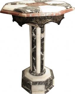 Casa Padrino Barock Marmor Beistelltisch mit Messing Verzierung - Marmor Tisch - Art Deco Neoklassisch Möbel