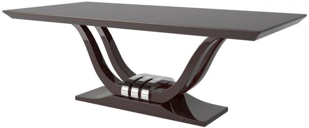 Casa Padrino Luxus Esstisch Dunkelbraun / Silber 220 x 110 x H. 77 cm - Edler Esszimmertisch - Massivholz Küchentisch - Luxus Esszimmer Möbel