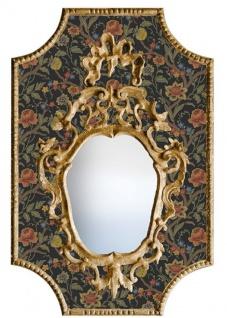 Casa Padrino Barock Spiegel Mehrfarbig / Schwarz / Antik Gold 65 x H. 99 cm - Barock Wandspiegel mit Blumen Design