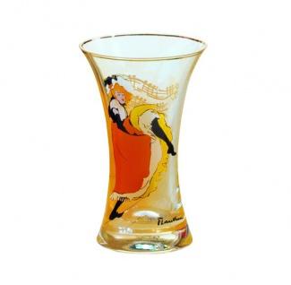 """Handgearbeitete Vase aus Glas mit einem Motiv von T. Lautrec """" Jane Avril"""", Höhe 16 cm - feinste Qualität aus der Tettau Porzellanfabrik - wunderschöne Vase"""