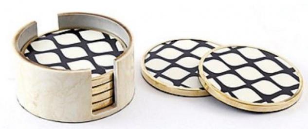 Casa Padrino Designer Untersetzer Set Schwarz / Weiß / Messing Ø 11, 5 x H. 6 cm - 6 Runde Untersetzer mit Halter