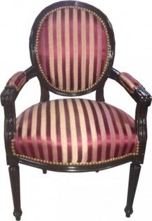 Salon Stuhl Bordeauxrot / Violett Streifen / Braun Mod2