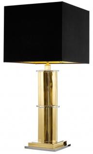 Casa Padrino Luxus Tischleuchte gold mit schwarzem Lampenschirm - Designer Wohnzimmer Tischlampe