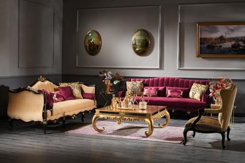 Casa Padrino Luxus Barock Couchtisch Gold 128 x 128 x H. 48 cm - Edler Massivholz Wohnzimmertisch mit Glasplatte und Spiegelglas - Luxus Qualität - Vorschau 2