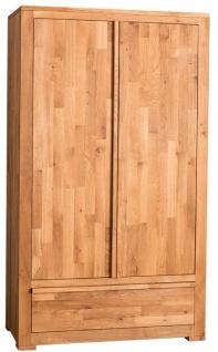 Casa Padrino Landhausstil Kleiderschrank Naturfarben 110 x 55 x H. 190 cm - Eichenholz Schlafzimmerschrank mit 2 Türen und Schublade - Vorschau 3