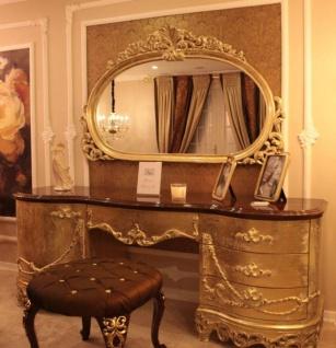 Casa Padrino Luxus Barock Schlafzimmer Set Braun / Gold - 1 Schminkkommode & 1 Spiegel & 1 Hocker mit Glitzersteinen - Prunkvolle Schlafzimmer Möbel im Barockstil - Luxus Qualität